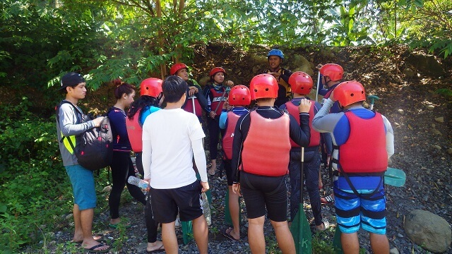 Short orientation before our whitewater rafting. Giving us information about the DOs and DON'Ts during the tour.