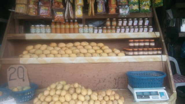 Closer look of the products sold in fruit stands. Mango puree, mango juice, mango jam, piaya mango and others.