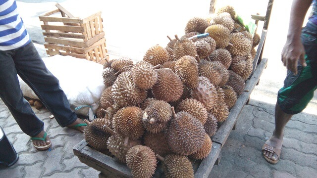 Durian fruits being sold in the street of Cagayan de Oro.