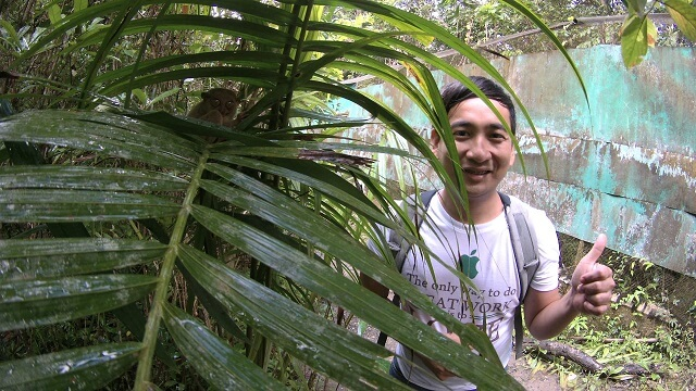 Photo opportunity with a tarsier in their sanctuary at Corella, Bohol.