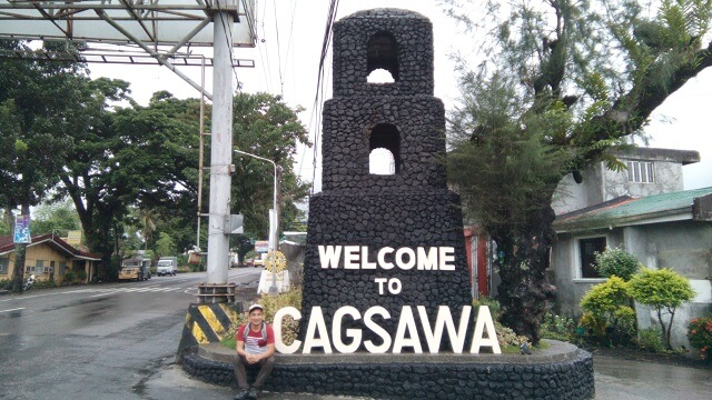 A marker at the drop-off point for Cagsawa Ruins.