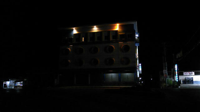 The Henady Inn at night time, which is located along the national road.