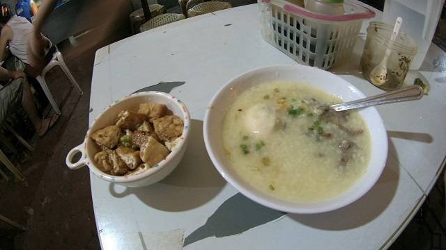 Tokwa't baboy (left) and goto (right).