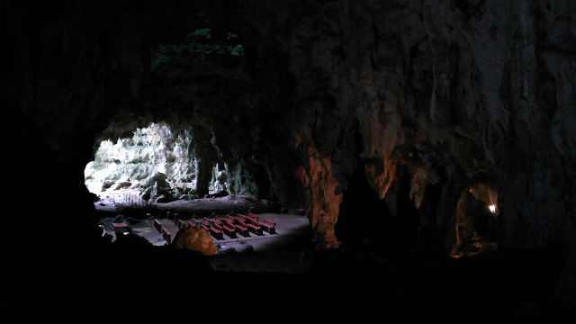The reason why it attracted a lot of people. A chapel built in the Callao Cave.