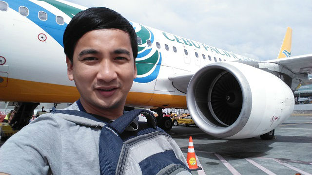 Photo opportunity with Cebu Pacific Air's Airbus before boarding the plane.