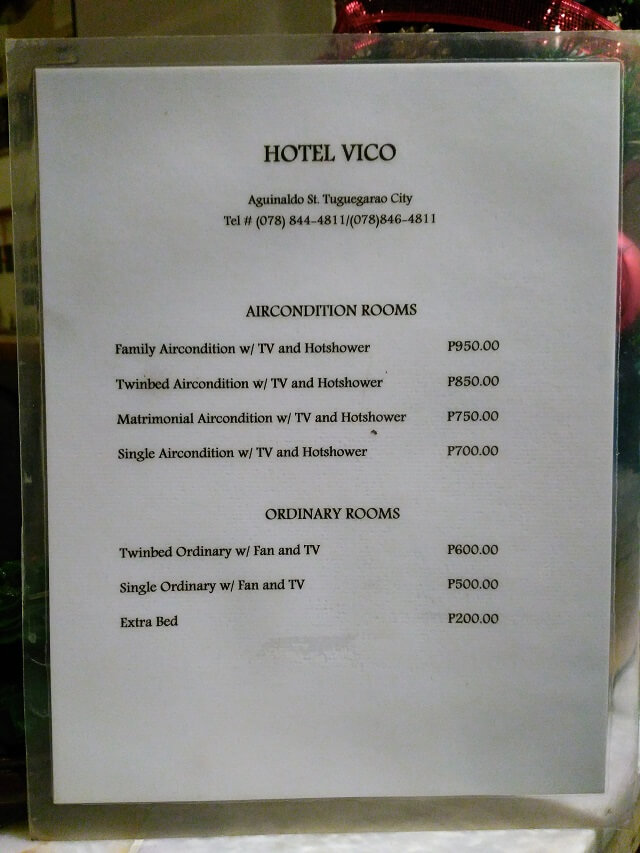 Room Rates of Hotel Vico in Tuguegarao City.
