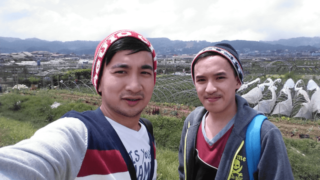 With my friend at the Strawberry Farm.