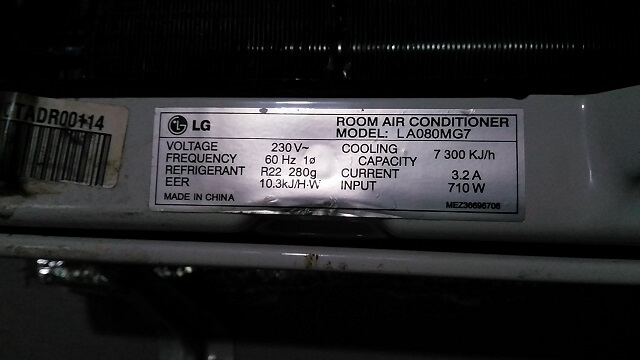 LG Room Air Conditioner with Model # LA080MG7