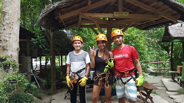 Joe, Jen and Francis are ready for one of the activities that you can avail in Mahal Forest Resort in Hagimit Falls and Natures Park.