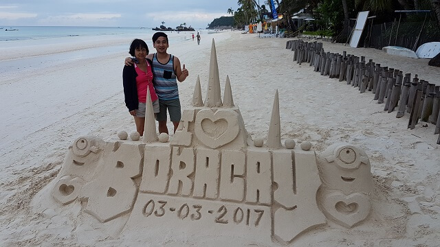 Morning walk with mom at Boracay